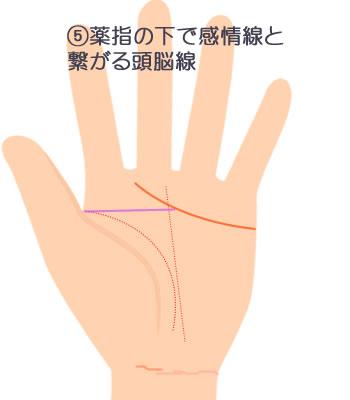 薬指の下で感情線と繋がる頭脳線です。
