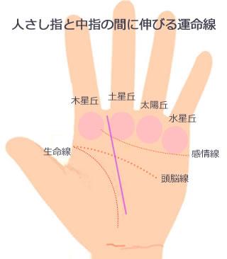 人さし指と中指の間に向かう運命線です。