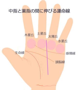 中指と薬指の間に昇る運命線です。