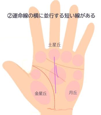 運命線の横に並行する短い線がある手相です。