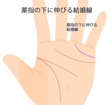 薬指の下に伸びる結婚線です。