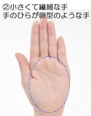 ②小さくて繊細で手のひらが卵型に近い手です。